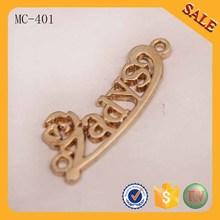 MC401 Manufacture company name letter Handbag accessory metal brand tag and logo(China)