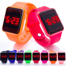 2017 New  kids causal sports LED digital watch toy For Birthday Gift action figure children wristwatches clock girl boy W007