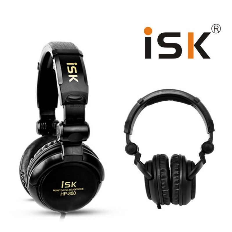 ISK HP-800 Monitoring Headphone Auriculares Recording Studio DJ Headset Stereo Dynamic Headband Earphone 3.5mm + 6.3mm Plug<br>