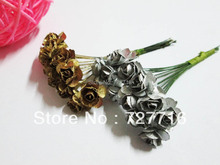 Free shipping !!Gold and silver Mulberry Paper Rose Flower Bunch/SCRAPBOOKING artificial flower 144pcs/lot