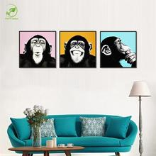 Funny Express 3pcs Monkey Animal Painting Melamine Sponge Board Oil Paint Orangutan Wall Art Picture Living Room Home Decor Art