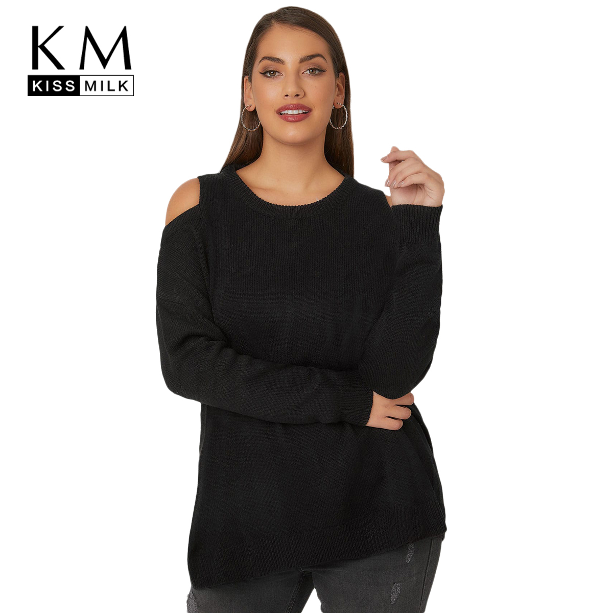 Kissmilk 2018 Plus Size Solid Women Cross Women Sweaters Large Size Off-shoulder Female Clothing Big Size Casual Lady Pullovers