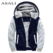 ASALI Bomber Jacket Men 2017 New Brand Winter Thick Warm Fleece Zipper Coat for Mens SportWear Tracksuit Male European Hoodies(China)
