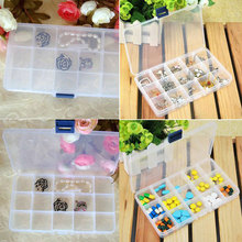 Compact Removable 15 Compartment Plastic Storage Box Jewelry Container(China)