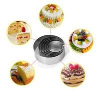 New Arrival 6pcs Retractable Stainless Steel Circle Mousse Ring Baking Tool Set Cake Mould Mold Size Adjustable Bakeware