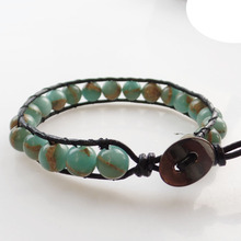 (Min. Order $10) Beautiful 1Strand 6mm Snake Skin Stone Round Beads Wrap Leather Adjustable Bracelet 7.5 inch SHX1355(China)