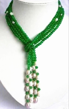 Fashion 6mm green natural white pearl sapcer beads scarf necklace semi-precious stone chalcedony jewelry 50inchBV366