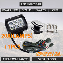 20pcs/lots Factory wholesale 4INCH 18W CR EE LED WORK LIGHT FOR OFF ROAD 4X4 4WD ATV UTV SUV Driving Fog Lamp Headlight external