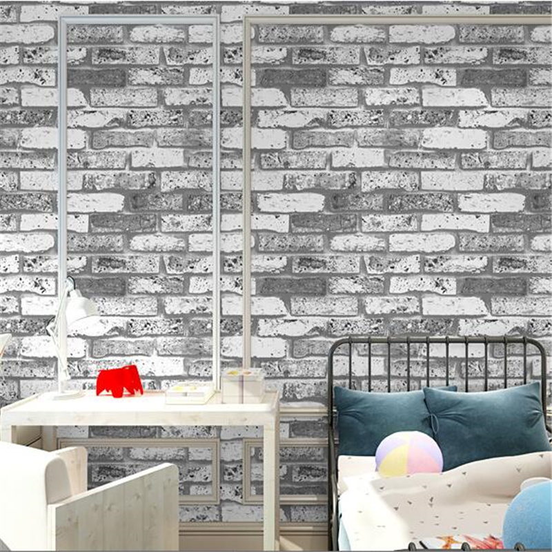 beibehang Chinese Vintage Imitation Stereo Fake Brick Wallpaper Red Brick Gray Brick TV Background Wall Study Bedroom Wallpaper<br>