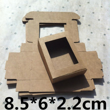50PCS 85x60x22mm Natural Kraft Brown Box Cartons with Window Small Soap Box Package Gift Packing Boxes Embalagem Crafts Caixa