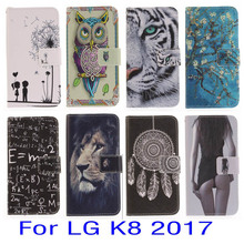 JOVO For LG K8 2017 Case PU Leather Wallet Flip Mobile Phone Cases lover flower smart phone cellular fundas coque bag(China)