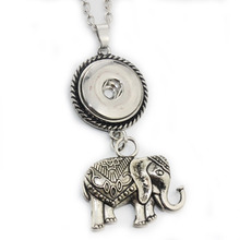2017 New Elephant Pendant Necklace 18mm Snap Button Jewelry Metal Necklace with Link Chain Free Shipping 8173