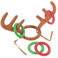 Children Kids Inflatable Santa Funny Reindeer Antler Hat Ring Toss Christmas Party Supplies Toys