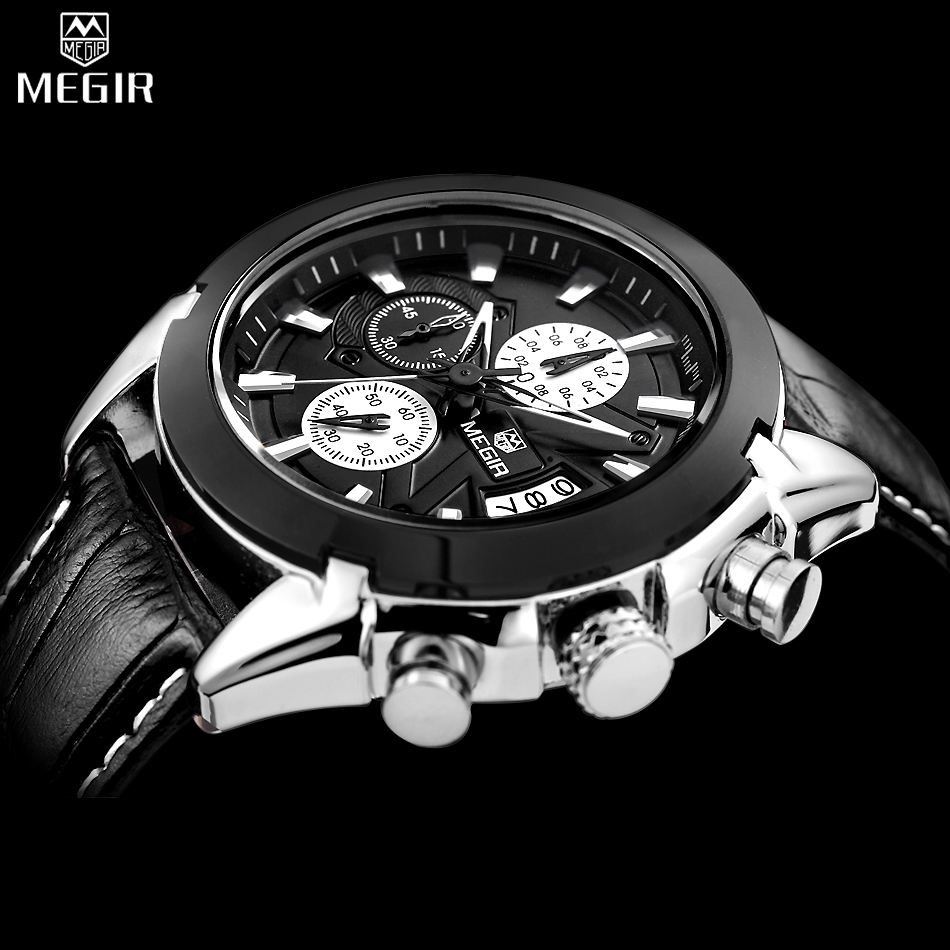 MEGIR Chronograph Casual Watch Men Luxury Brand Quartz Military Sport Watch Genuine Leather Mens Wristwatch relogio masculino<br>