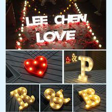 Plastic Heart Letter Design LED Night Light Marquee Sign Alphabet Night Lights Lamp Home Culb Outdoor Indoor Wall Decoration P15(China)