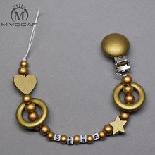 Buy MIYOCAR personalized name gold luxurious wooden beads dummy clip holder pacifier clips holder/Teethers clip baby for $7.13 in AliExpress store