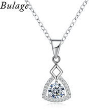 Bulage Classic Necklace Three-dimensional Triangle Design Mosaic Cubic Zircon Silver Plated Pendant Necklace Accessories Gift(China)