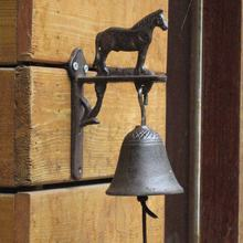 Retro Iron Horse Decorative Cast Iron Handmade Bell Phone Countryside Garden Garden Farm Creative Home Crafts Free Shipping(China)