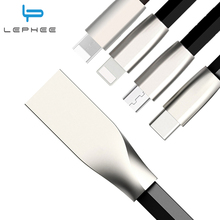 LEPHEE Micro USB Cable Zinc Alloy Flat USB C Type C Type-C Charging Cable for iPhone 6 7 Plus 6s Plus 5s 5 for Samaung USB-C