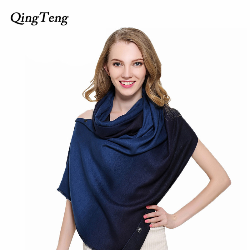 QingTeng Luxury Scarf Women Winter Gradient Colourful Magic Changeable Women Scarves Cashmere Shawls Female With Button(China)