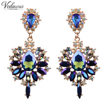 Vedawas Big Brand 2017 New Design Colorful Flower Luxury Starburst Pendant Crystal Gem Statement Earrings For Women Jewelry 1628
