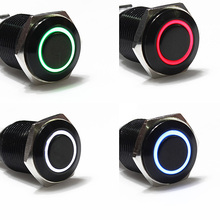 1PC 12V Car Aluminum Metal Switch Blue Green Red White LED Push Button Latching Push On Start Wholesale Price(China)