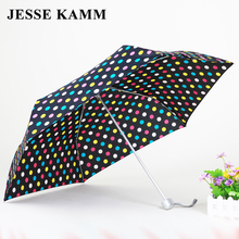 JESSE KAMM 165G Compact three Folding Rain Travele light Aluminium Red Yellow Women Men high quality cheap fashion umbrellas(China)