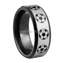 Free Shipping USA UK Canada Russia Brazil Supernova Sale 8MM Men's Comfort Fit Football Soccer World Cup Tungsten Wedding Rings(China)