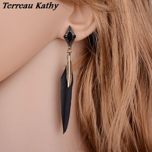 Terreau Kathy New Arrival Bohemian Ethnic Jewelry Alloy Leaf Black Feather Earrings Women Blue Long Earrings Female Brincos(China)