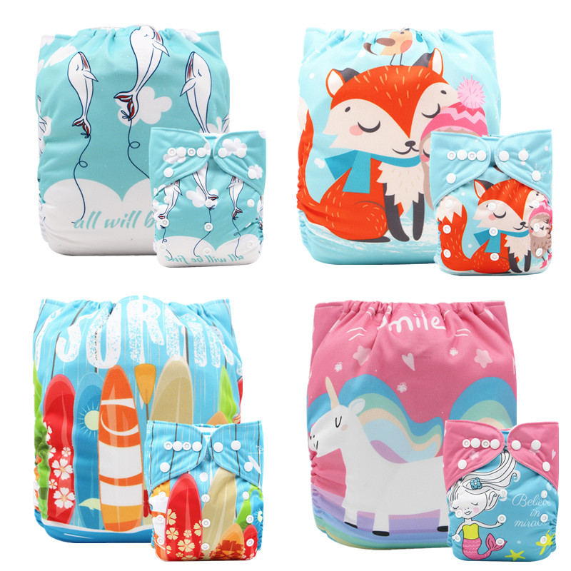 10Pcs/set Thank u Mom New Prints Cloth Diaper Cover Cloth Reusable Nappies for 0-2years 3-15kg Baby Washable Pocket Diapers
