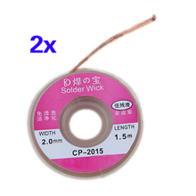CNIM Hot 2Pcs 2.0MM Solder Wick Remover Desoldering Braid Wire Sucker Cable Fluxed Flux(China)