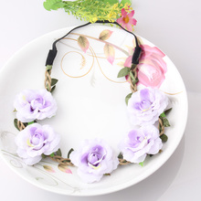 M MISM Stylish Peony Flower Garland Floral Bridal Headband Elastic Hairband Wedding Prom Hair Bands Hair Accessories For Girls(China)