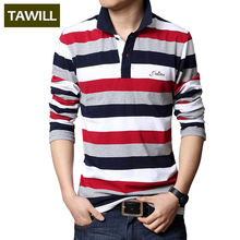 TAWILL 2017 Letters Embroidered Men Strip Polo Shirt Turn-down Collar Casual Cotton Polo Shirt Red Gray Green Asian Size M-5XL(China)