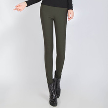 2017 autumn winter high thickening and wool insulation elastic thin outer wear pure color pencil feet tight pants