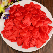 1000 pcs/lot Padded Felt Fabric Sponge Love Heart Petals Appliques For Wedding/Party Bed Decoration Valentine 's Day supplies(China)
