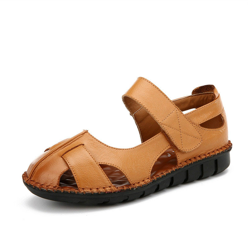 Genuine Leather Retro Woman Sandals Handmade Soft Casual Rome Shoes Closed Toe Non-Slip Flat Garden Sandals Plus Size 35-43<br>