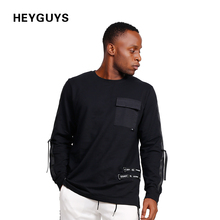 HEYGUYS 2017 NEW MEN'S High Street HIPHOP T Shirt Pure Black Clour Cotton long Sheeve T Shirt Side Stripe O-Neck Pocket(China)