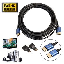 Aluminum HDMI Cable + Mini & Micro HDMI Adapter V1.4 HD 3D for Xbox HDTV Digital Camera Tablet Notebook OD#S