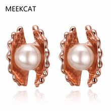 MEEKCAT Good Quality Shell Pearl Earrings Rose Gold Color Wedding CZ Rhinestone Pendientes Mujer Boucle d'Oreille Femme