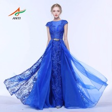ANTI Royal Blue Mermaid Evening Dress O-Neck Lace Two Pieces Sashes Formal Gowns For Wedding Party Celebrity Guest Dress 2017