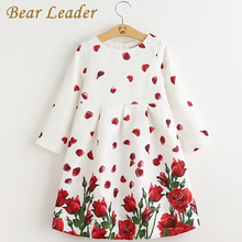 Bear Leader Girl Dress 2017 Brand Long Sleeve Christmas Dresses Kids Clothes Rose Flower Robe Fille Rapunzel Children Dress 3-8A
