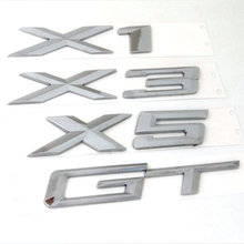 3D Chrome Silver Tail letter Emblem Badge Sticker Decoration For BMW X1 X3 X5 X6 E83 F25 Accessories Styling(China)