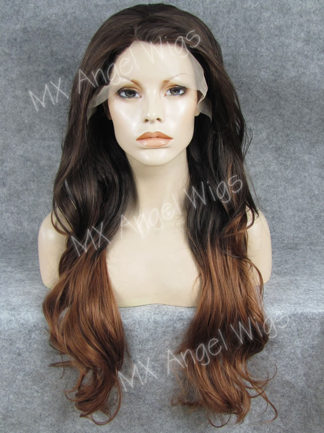 K12 26 Wavy PT2/30# Dark Brown Root To Auburn Ombre Color Synthetic Lace Front Wigs Heat Resistant Heavy Density kanekalon Wigs<br><br>Aliexpress