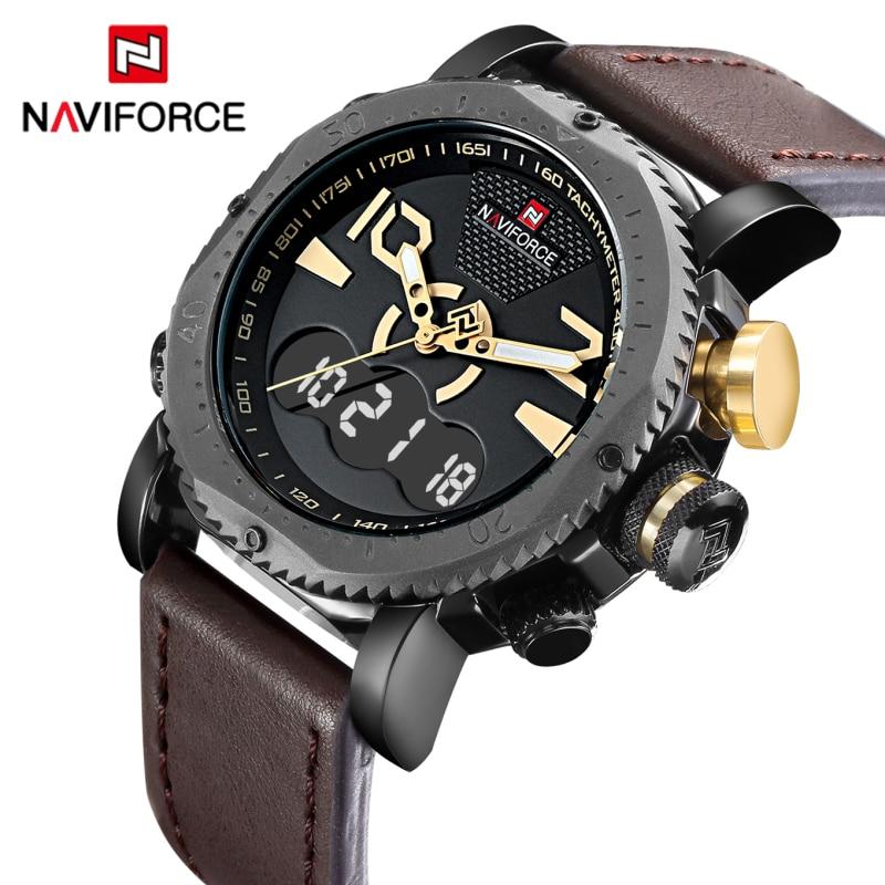 New Luxury Brand NAVIFORCE Men Sports Watches Mens Quartz Digital Clock Man Fashion Casual Leather Army Military Wrist Watch<br><br>Aliexpress