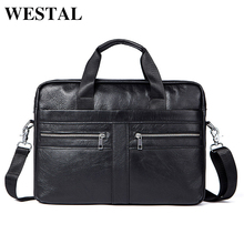 WESTAL Genuine Leather Men Bags Briefcases Men's Messenger Bag Cowhide Leather Laptop Crossbody Handbag Male Business Bag 2019(China)