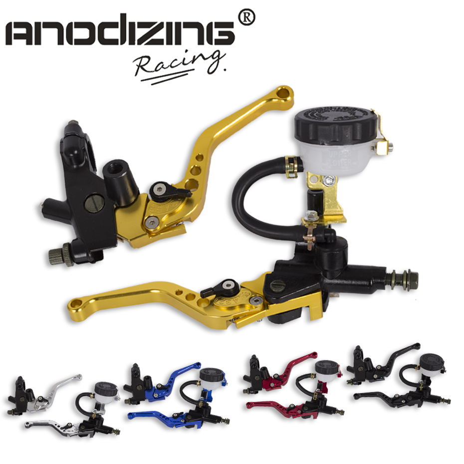 Free Shipping Universal Adjustable Motorcycle Brake Clutch Levers Master Cylinder Hydraulic Reservoir Set For Honda<br>