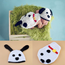 Baby Infant Knitted Puppy Dog Costume Set Photo Props Crochet Puppy Dog Hat Cape Set Crochet baby Clothes Outfits 1set MZS-15078
