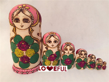 New Quality 7 Pieces Of  Pyrograph Beautiful Wooden Russian Nesting Dolls for Kids' Gifts Toy