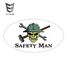 EARLFAMILY 13cm X 7.2cm Safety Man Skull Hard Hat Hammer Wrench Tool Car  Stickers ca4353405c90