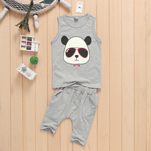 NEW ARRIVAL kids boy summer cool cloth set printing CARTOON vest+casual middle pants suit baby CHILDREN boy clothing set